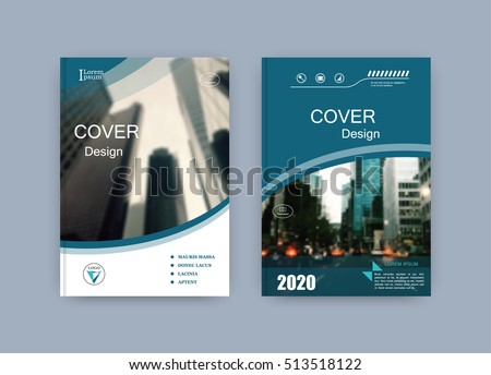 Creative book cover design. Abstract composition with image. Set of A4 brochure title sheet. Blue green, turquoise colored geometric shapes. Interesting vector illustration. Minimalistic style.