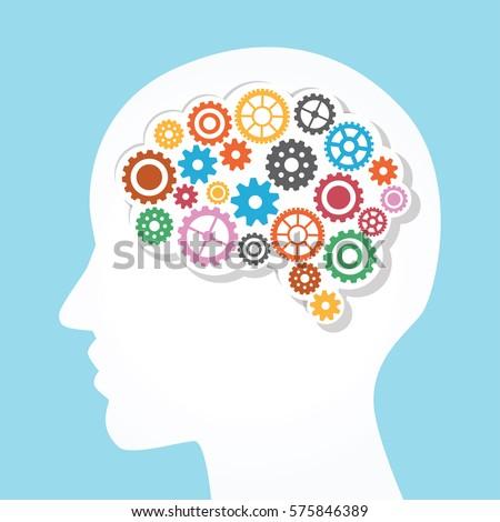 Creative brain and gear vector template.