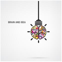 Creative brain Idea and light bulb concept, design for poster flyer cover brochure, business idea, education concept.vector illustration