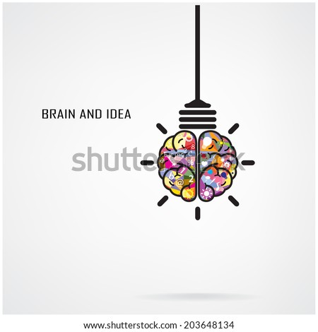 Creative brain Idea and light bulb concept, design for poster flyer cover brochure, business idea, education concept.vector illustration