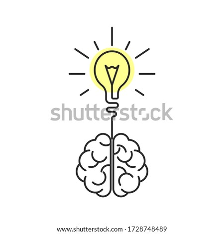Creative brain idea. Human brain and light bulb illustration. Isolated on white background.
