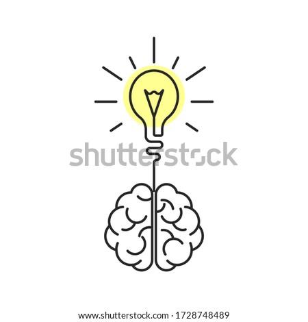 Creative brain idea. Human brain and light bulb illustration. Isolated on white background.