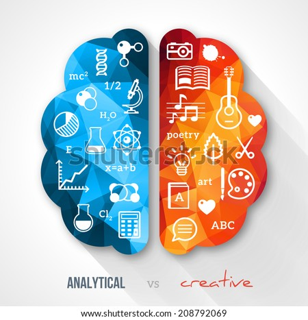 Creative brain Idea. Vector concept.  Sciences and arts. Back to school icons. Left and right brain functions.