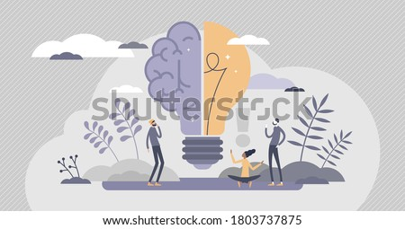 Creative brain with innovative knowledge thinking scene tiny persons concept. Brainstorming process with imagination and genius approach to business vector illustration. Smart symbol as light bulb.