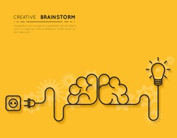 Creative brainstorm concept business idea, innovation and solution, creative design, vector illustration