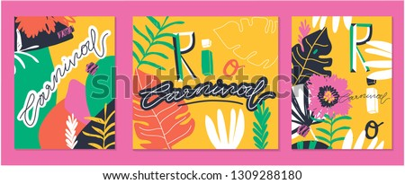 """Creative bright set of Brazil Carnival backgrounds / cards. Vector templates with trendy abstract tropical elements. Signs """"RIO"""", """"CARNIVAL""""."""