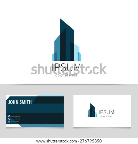 Creative building logo design with business card template. Trendy city concept logotype for your company. Vector illustration.