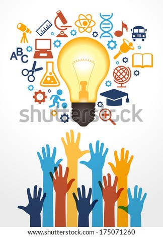 Creative bulb with school icons and human hand Concept learning The study of science his work eps10 vector file contain transparent elements and mesh gradients