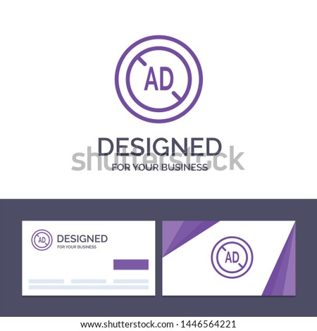 Creative Business Card and Logo template Ad, Blocker, Ad Blocker, Digital Vector Illustration