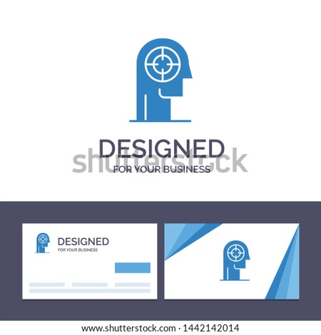 Creative Business Card and Logo template Arrow, Concentration, Focus, Head, Human Vector Illustration