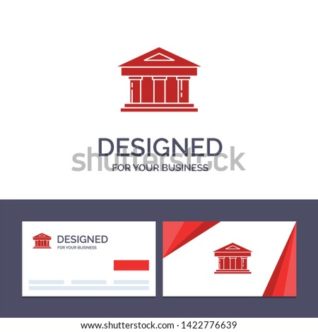 Creative Business Card and Logo template Bank, Courthouse, Finance, Finance, Building Vector Illustration