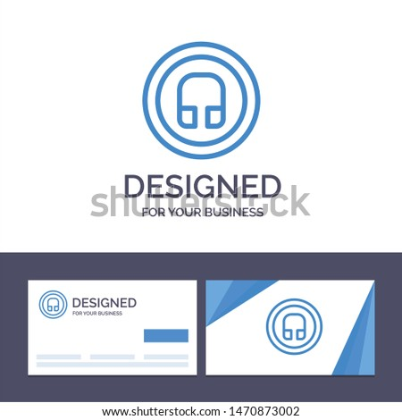Creative Business Card and Logo template Earphone, Headphone, Basic, Ui Vector Illustration. Vector Icon Template background