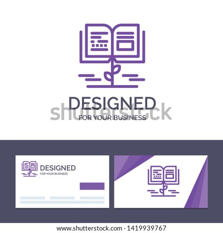 Creative Business Card and Logo template Growth, Knowledge, Growth Knowledge, Education Vector Illustration