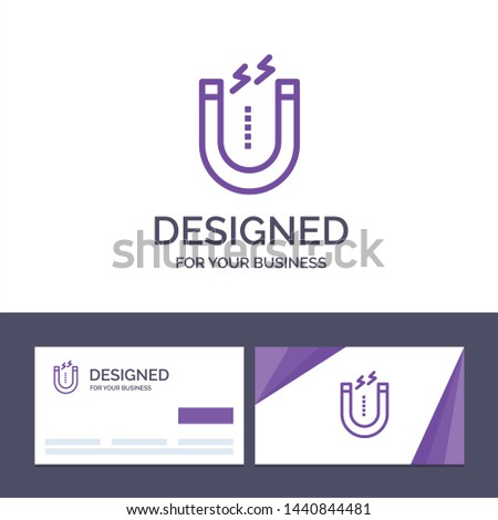 Creative Business Card and Logo template Magnet, Attract, Attracting, Tool Vector Illustration
