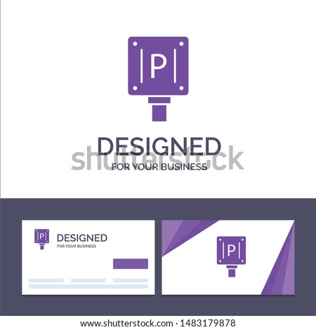 Creative Business Card and Logo template Parking, Board, Sign, Hotel Vector Illustration