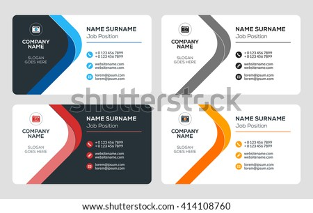 Black and white business card template download free vector art creative business card template flat design vector illustration stationery design 4 color combinations reheart Gallery