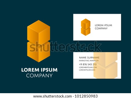 Abstract Cubes Name Card Set Download Free Vector Art Stock