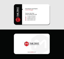 creative business card with the letter M and red box