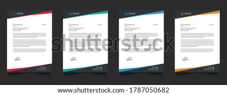 creative business letterhead corporate advertising company profile layout, letterhead design Simple and clean print-ready Modern Business style design vector illustration. color red green blue yellow