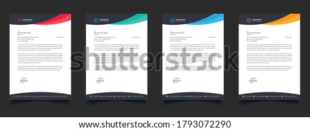Creative Business Letterhead Corporate Advertising Company Profile Layout, Letterhead Design Simple, And Clean Print-ready Modern Business Style Design Vector illustration. Color Red Green Blue Yellow