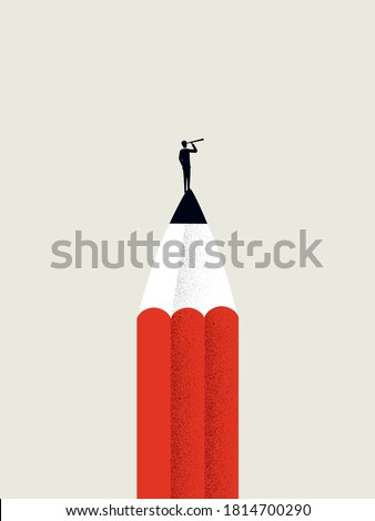 Creative business skills vector concept with businessman and pencil. Visionary businessman looking for success, growth, planning future. Eps10 illustration.