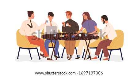 Creative business team sitting at table and planning strategy with sticky notes. Project discussion. Smiling office workers on briefing, brainstorm. Vector illustration in flat cartoon style.