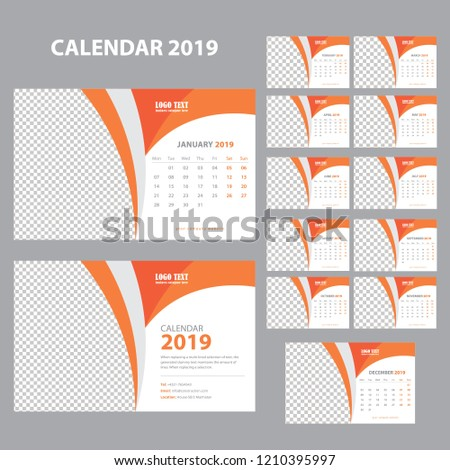 Creative Calendar for 2019 Year. Modern Vector Design Print Template with Place for Photo. #1210395997