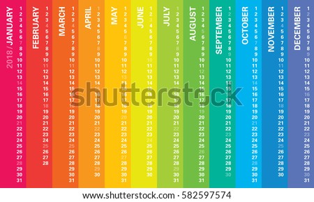 creative calendar 2018 with rainbow vertical design sundays selected multicolored template for web