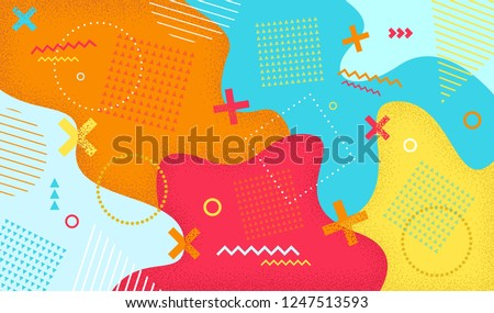 Creative cartoon color splash background with geometric shapes. Abstract pattern in memphis 80s-90s style. Vector illustration colorful spotty pattern with lines and dots.