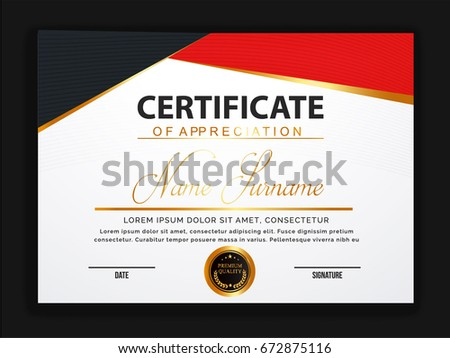 Creative certificate template with clean and modern pattern,Vector illustration  #672875116