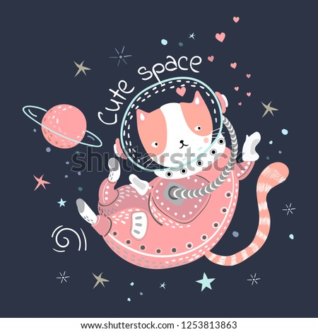 Creative childish pattern with cute cat, planets and slogan. Vector scandinavian patch for for fashion apparels, t shirt and printed design.