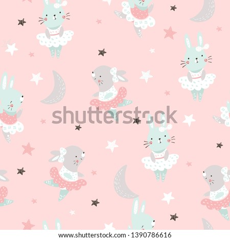 Creative childish seamless pattern with cute rabbits . Vector baby design for fashion apparels, fabric, textile; wrapping and wallpaper.