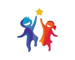 Creative Children Reaching Star Education Logo in Isolated Background