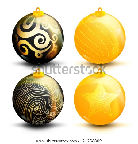 Creative Christmas ball isolated on  background, (vector illustration)