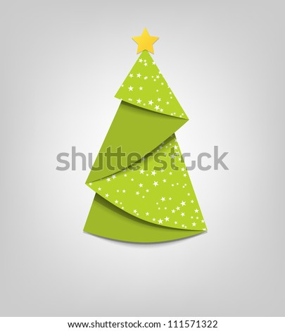 Creative Christmas tree card. Vector origami