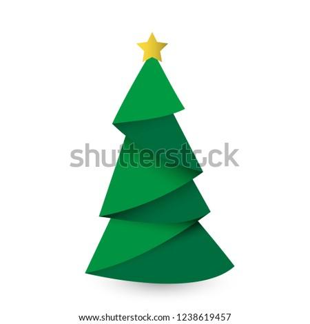 Creative Christmas tree card. Vector origami #1238619457