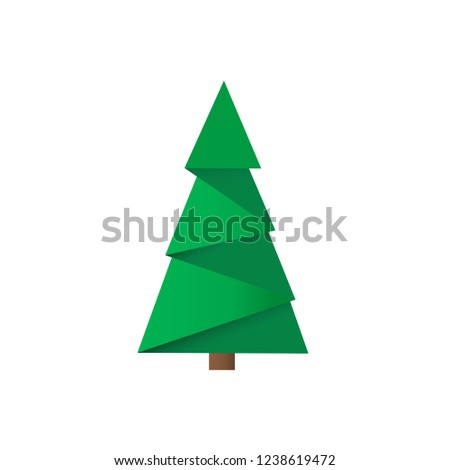 Creative Christmas tree card. Vector origami #1238619472