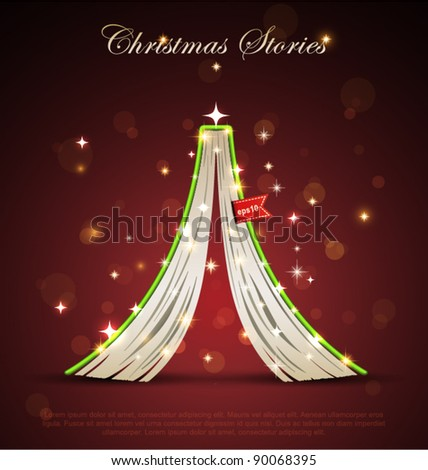 Creative Christmas tree formed from open upside down book. Vector Christmas  Illustration.