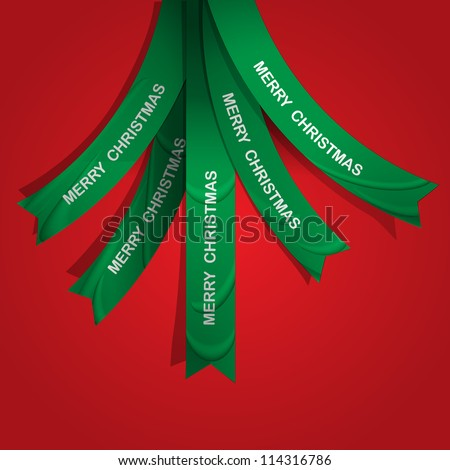 Creative Christmas tree formed from ribbons. Vector eps10