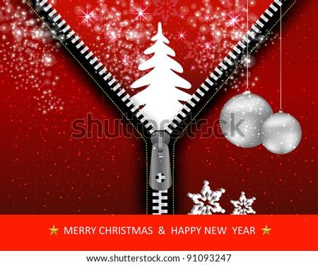 Creative Christmas tree with zipper, Vector Illustration