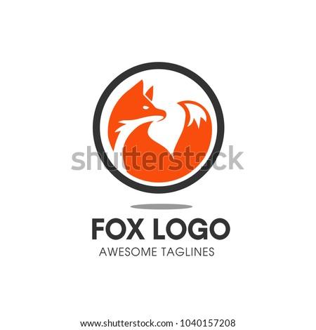 Creative circle fox logo vector, Round Fox Logo Template