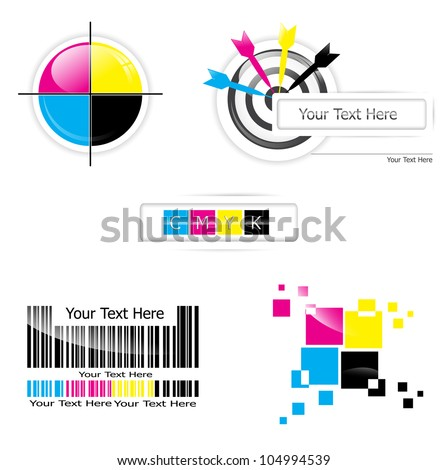 Creative CMYK logo or icon design collection over white