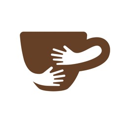 Creative coffee cup and hands logo design. Cafe or restaurant symbol. Unique logotype design template. Hug cup vector illustration