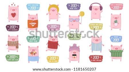 Creative collection of cute pigs for New 2019 Year. Symbol of the year in the Chinese calendar. Vector illustration cartoon isolated. Year of yellow pig. Stock photo ©