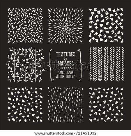 Creative collection of handcrafted design elements: hand drawn textures, brushe strokes, natural graphic patterns, floral ornaments, abstract lines, tribal symbols made with ink. Isolated vector set.