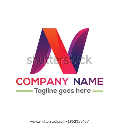 creative colorful amazing professional 3d type n letter or font style logo or icon for your comapany and business Foto stock ©