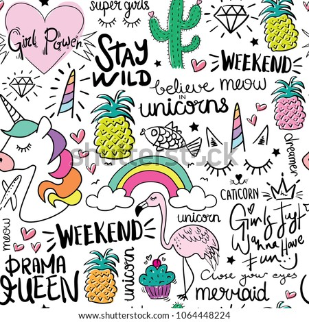 Creative colorful art drawing seamless endless repeating pattern texture with elements like unicorn, pineapple, cactus, rainbow etc. / Vector illustration design for fabrics, wallpapers or other uses.