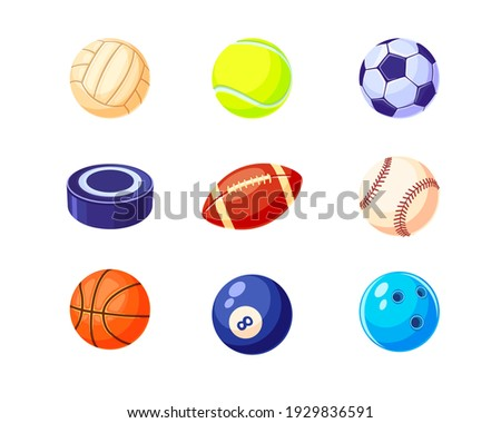 Creative colorful balls flat illustration set. Cartoon hockey, soccer, baseball, basketball, rugby and billiard balls isolated vector illustrations. Sport game equipment concept