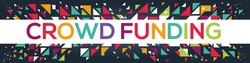 creative colorful (crowd funding) text design,written in English language, vector illustration.