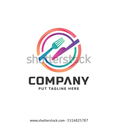 creative colorful fork logo